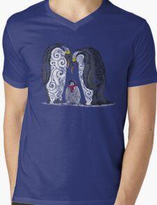 Swirly Penguin Family Mens V-Neck T-Shirt