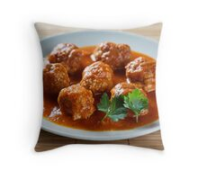Beef and pork meatballs Throw Pillow