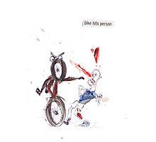 Bike Hits Person Photographic Print