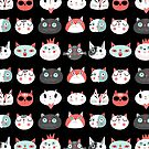 Pattern of portraits of various cats  by Tanor