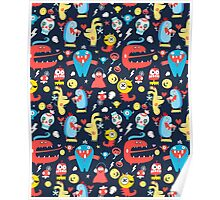 Seamless jolly pattern with monsters Poster