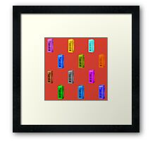 Phone booth on fiesta background Framed Print