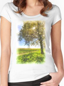 The Daffodil Summer Farm Art Women's Fitted Scoop T-Shirt