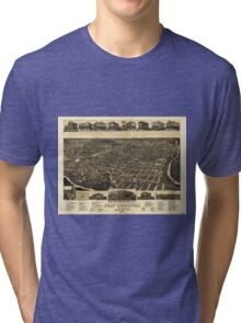 Aerial View of Fort Worth Tarrant County Texas (1886) Tri-blend T-Shirt