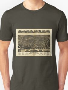 Aerial View of Fort Worth Tarrant County Texas (1886) Unisex T-Shirt