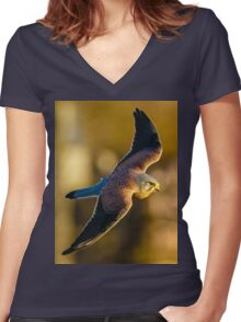 Kestrel soaring over woodland Women's Fitted V-Neck T-Shirt