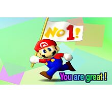 Smash 64 Mario Congratulations Screen Photographic Print