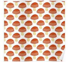 Simple doodle cute amanita pattern. Fly agaric hand drawn seamless background. Poster