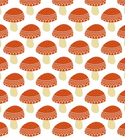 Simple doodle cute amanita pattern. Fly agaric hand drawn seamless background. Sticker