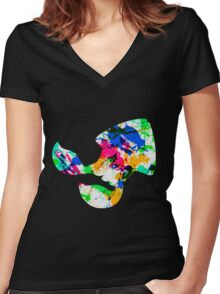 Squid kid silhouette Women's Fitted V-Neck T-Shirt