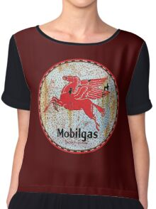 Vintage Mobil Gas and Oil sign rusty as heck. Chiffon Top