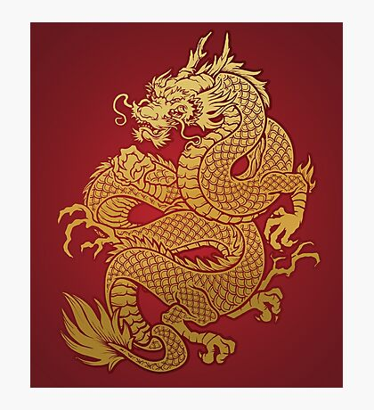Chinese Golden Dragon Photographic Print