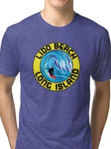 Surfing LIDO BEACH LONG ISLAND NEW YORK Surf Surfboard Waves Tri-blend T-Shirt