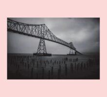 The Astoria–Megler Bridge, Astoria, Oregon.  In Black and White One Piece - Short Sleeve