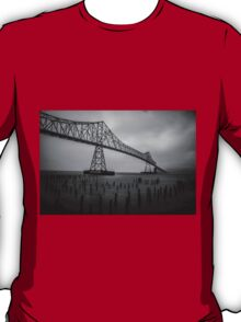 The Astoria–Megler Bridge, Astoria, Oregon.  In Black and White T-Shirt