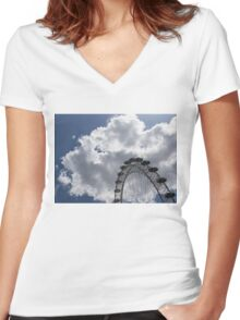 Silver, Blue and White - the London Eye Against Dramatic Sky Women's Fitted V-Neck T-Shirt