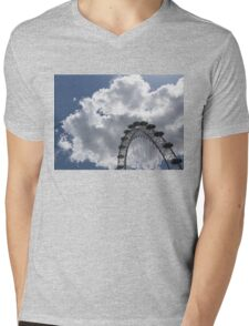 Silver, Blue and White - the London Eye Against Dramatic Sky Mens V-Neck T-Shirt
