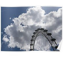 Silver, Blue and White - the London Eye Against Dramatic Sky Poster