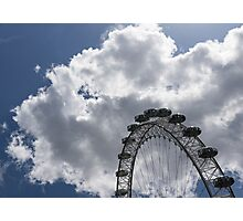 Silver, Blue and White - the London Eye Against Dramatic Sky Photographic Print