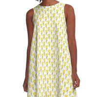 Simple doodle yellow tulip pattern. Cute flower seamless background. Summer wallpaper.  A-Line Dress
