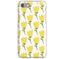 Simple doodle yellow tulip pattern. Cute flower seamless background. Summer wallpaper.  iPhone Case/Skin