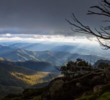 Panoramic view from Mount Buffalo at Sunset Sticker