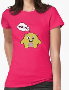 Cartoon monsters in a flat style. What? Womens Fitted T-Shirt