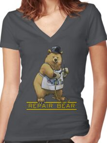 Repair Bear - Grizzly Women's Fitted V-Neck T-Shirt