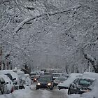 Montreal streest after a snowstorm by michel bazinet