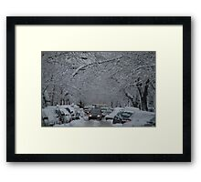 Montreal streest after a snowstorm Framed Print