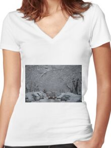 Montreal streest after a snowstorm Women's Fitted V-Neck T-Shirt