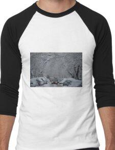 Montreal streest after a snowstorm Men's Baseball ¾ T-Shirt