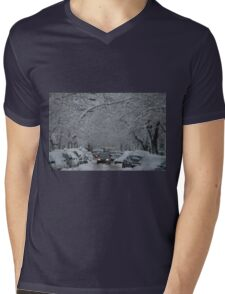 Montreal streest after a snowstorm Mens V-Neck T-Shirt