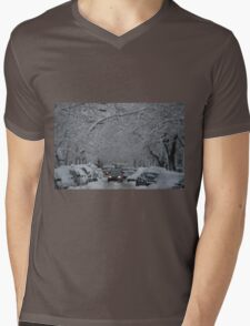 Montreal streest after a snowstorm Mens V-Neck T-Shirt