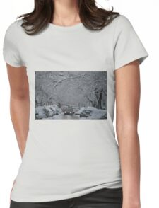 Montreal streest after a snowstorm Womens Fitted T-Shirt