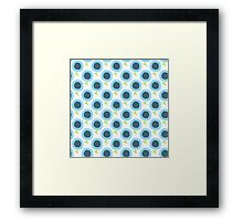 Simple kids flower pattern. Doodle seamless background. Cute blue wallpaper. Framed Print