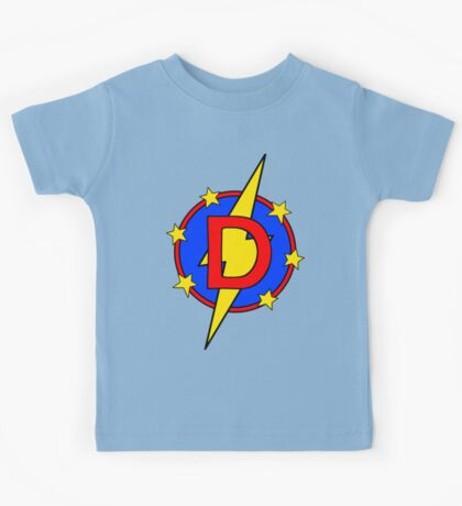 My Cute Little Super Hero - Letter D Kids Tee