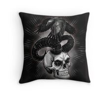 Crow on the skull Throw Pillow