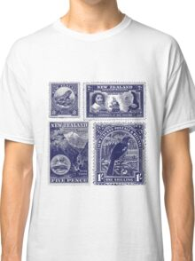 Four old New Zealand stamps Classic T-Shirt