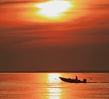 Fiery End to a Day of Fishing by Gilda Axelrod