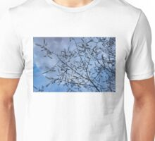 Graceful Lace in the Sky - Mimosa Leaves and Buds Against Dusk Clouds - Horizontal View Upwards Right Unisex T-Shirt
