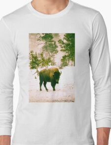 Lone Bison in Yellowstone Long Sleeve T-Shirt
