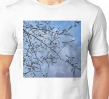 Graceful Lace in the Sky - Mimosa Leaves and Buds Against Dusk Clouds - Horizontal View Downwards Left Unisex T-Shirt