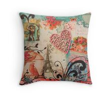 Pink Paris Throw Pillow