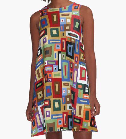 Colored Blocks A-Line Dress