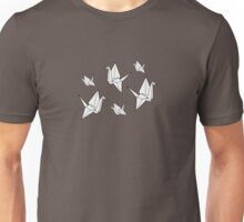 Paper cranes, blue background Unisex T-Shirt