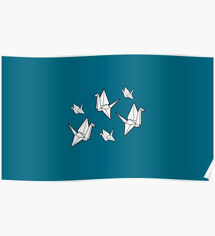Paper cranes, blue background Poster
