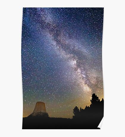Milky Way Over Devil's Tower Poster