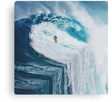 Surfing A Flat Earth Canvas Print