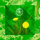 Dandelions on Green Paisley by Dana Roper